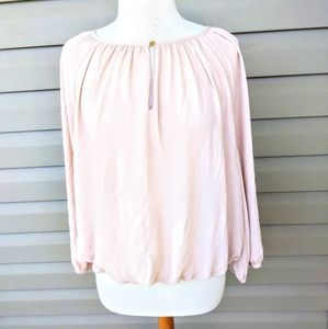 Vince Camuto Beige Chiffon Long Sleeved Blouse Med